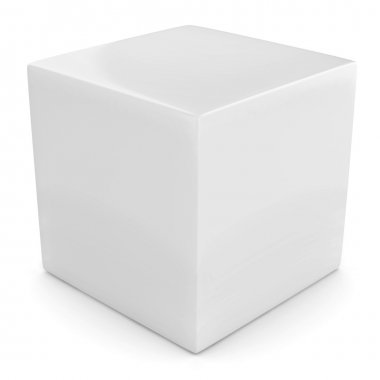 White 3d cube isolated over white