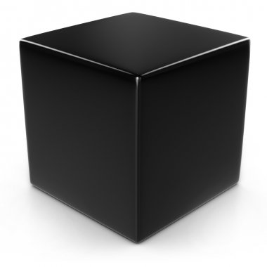 Black cube isolated over white