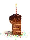 Photo Number one shaped chocolate birthday cake