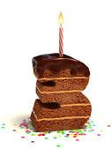 Photo Number three shaped chocolate birthday cake