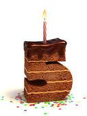 Photo Number five shaped chocolate birthday cake