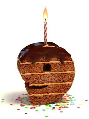 Number nine shaped chocolate birthday cake