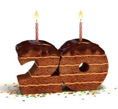 Chocolate birthday cake for a twentieth birthday or anniversary celebration