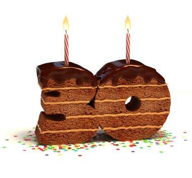 Chocolate birthday cake for a thirtieth birthday or anniversary celebration