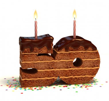 Chocolate birthday cake for a fiftieth birthday or anniversary celebration