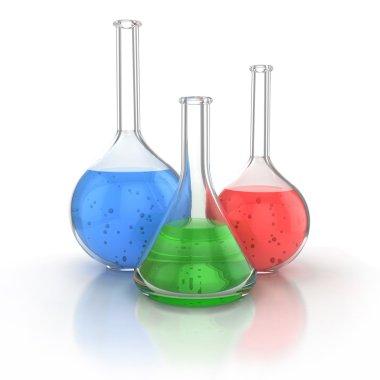 Laboratory glassware filed with liquid