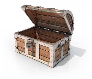 Empty treasure chest 3d illustration
