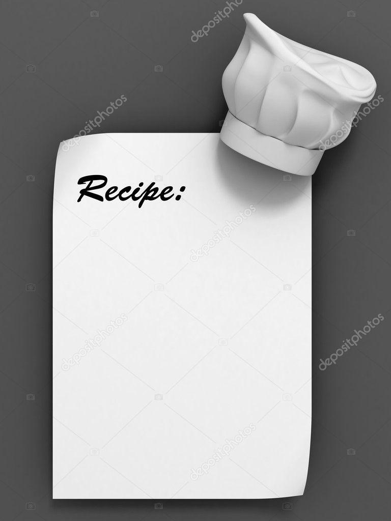 Rezept-Vorlage - Chef Hut auf dem Blatt Papier — Stockfoto © koya979 ...