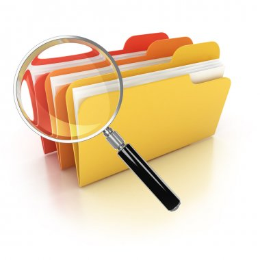 Folders search 3d icon - folders under the magnifier isolated on white illustration stock vector