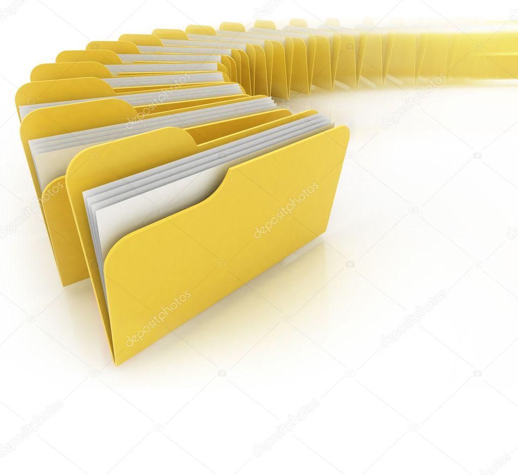 Folders in rush 3d concept