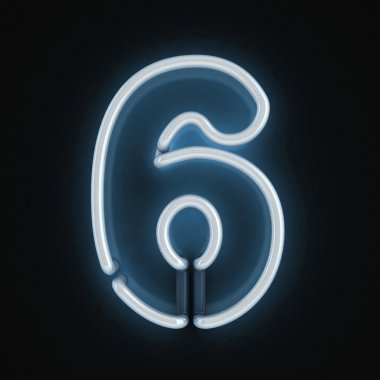 Neon light font number six