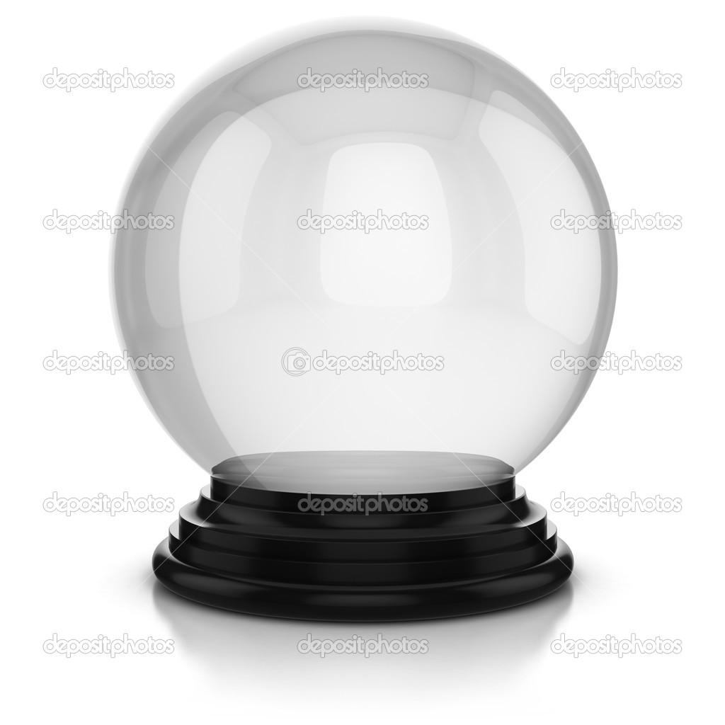 Empty crystal ball isolated over white background
