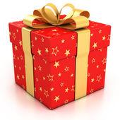 červená dárková krabička s zlatá stuha bílé pozadí