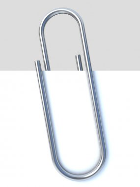 Close up of paper clip holding a blank paper sheet