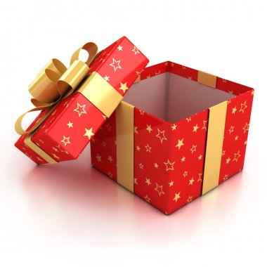 Open red gift box with golden ribbon over white background