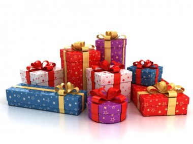 Colorful gift boxes over white background