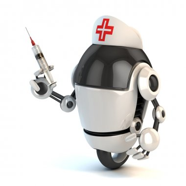 Robot nurse holding the syringe