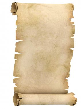 Parchment scroll on white background