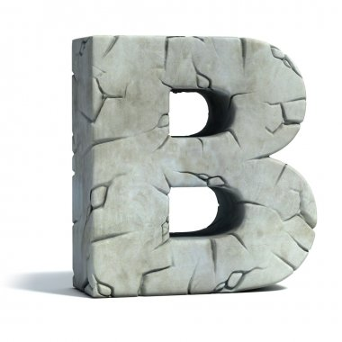 Letter B cracked stone 3d font