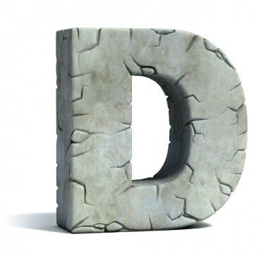 Letter D cracked stone 3d font illustration stock vector