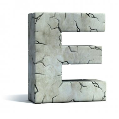 Letter E cracked stone 3d font illustration stock vector
