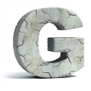Letter G cracked stone 3d font
