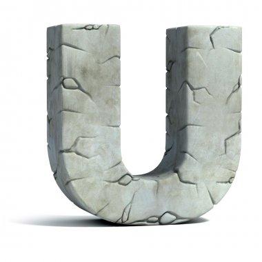 Letter U cracked stone 3d font