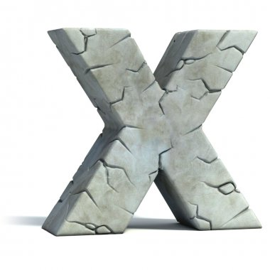 Letter X cracked stone 3d font