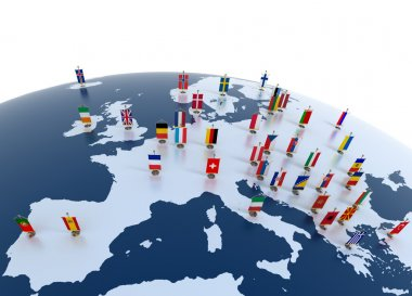 European countries 3d illustration - european continent marked with flags stock vector