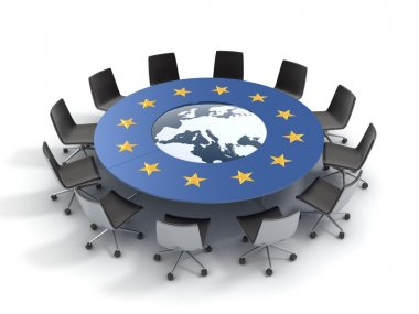 European union round table - EU meeting, conference, chamber, assembly 3d concept stock vector