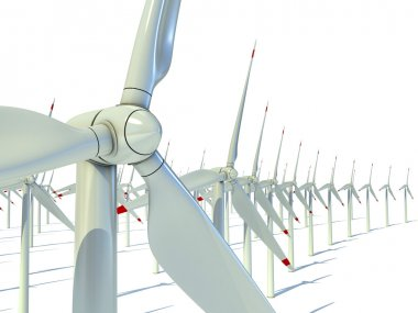 Wind power farm against white background - Power generation wind turbines