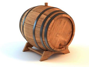 Wine barrel the white background