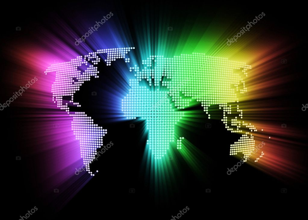 Abstract glowing hi-tech world map as background