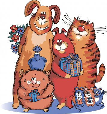 Dogs and cats congratulate on the holiday