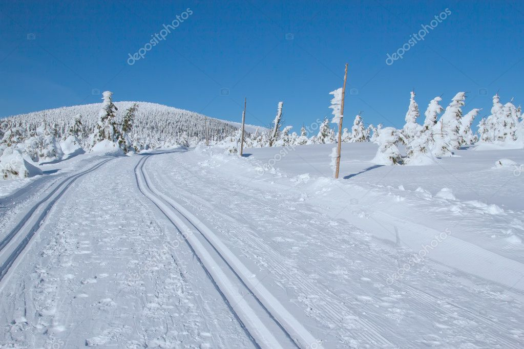 Winter mountain landscape scenery (Mountains Jeseniky, Czech Rep