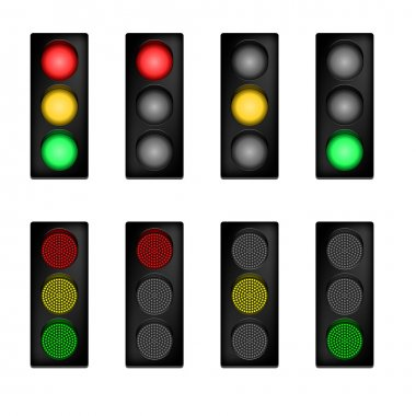 Traffic lights with normal end LED signals stock vector