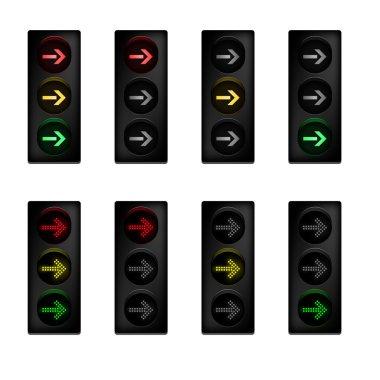 Traffic light set with right turn arrow