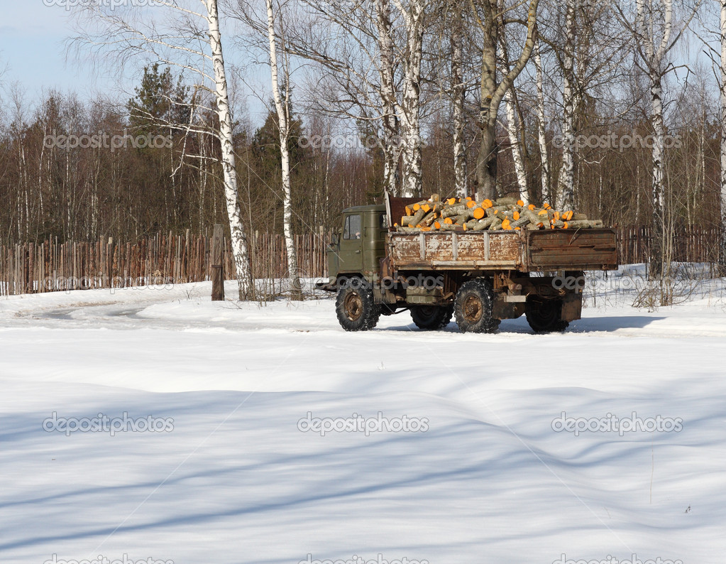 Truck with firewoods