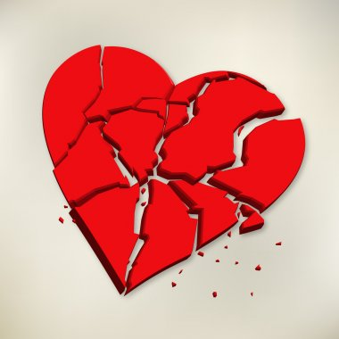 3d red broken heart on paper background