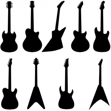 Set of electric guitar silhouette