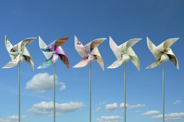 Money toy windmills