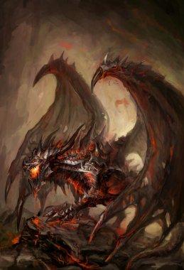 Molten armored knight dragon on rock stock vector