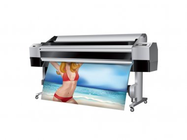 Plotter with bikini girl