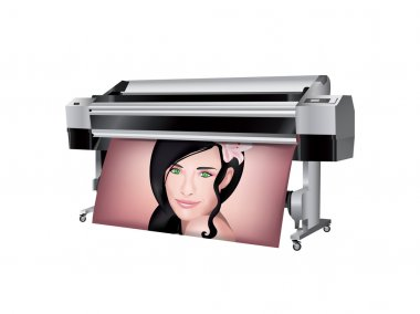Plotter with beautiful girl printed