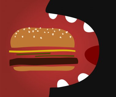 Vector comic man eating a hamburger.