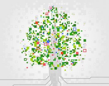 Vector tree made of pixels, symbolizing the development of computer technologies. clip art vector