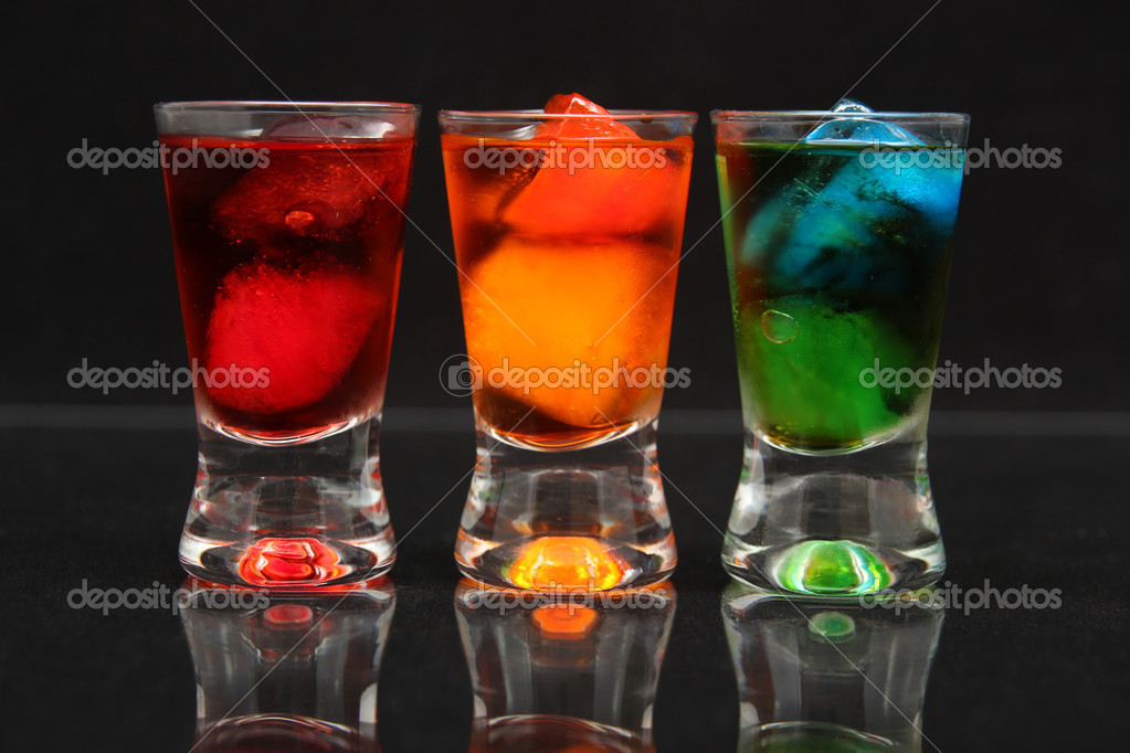 Red, orange and green shots
