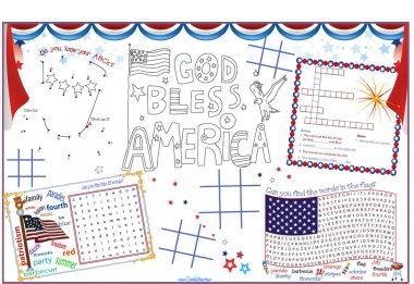Placemat 4th of July Printable Activity Sheet 2