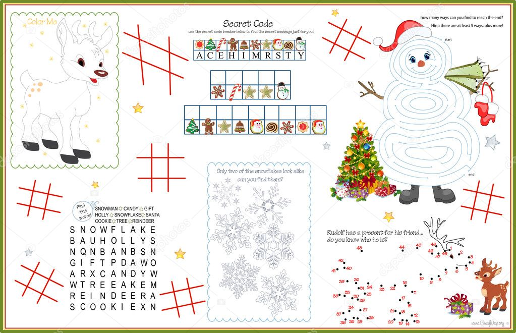 Placemat Christmas Printable Activity Sheet 5 Stock