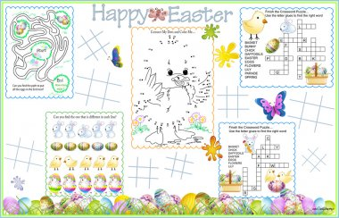 Placemat Easter Printable Activity Sheet 4